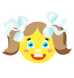 smiley girl laughs icons on a white background vector image vector image