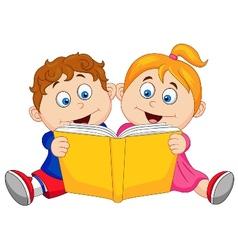 Children cartoon reading a book vector image