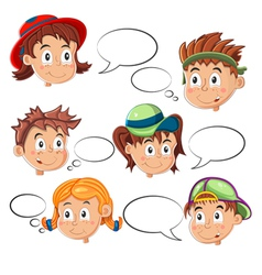 Children Faces with Speech Bubbles vector image vector image