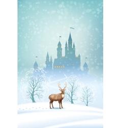 Christmas Landscape Winter Castle vector image