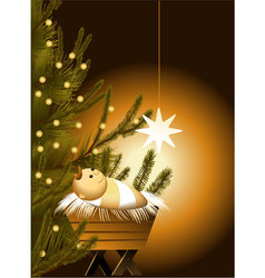 Christmas scene with baby Jesus vector image