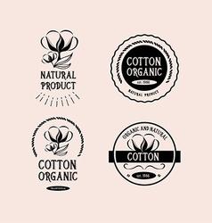 Cotton badges design organic product vector