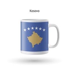 Kosovo flag souvenir mug on white background vector image vector image