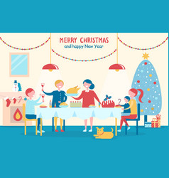 merry christmas and happy new year with family vector image