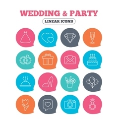 Wedding and party icon Dress diamond and ring vector image