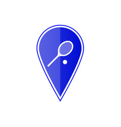 blue map pointer with tennis racket and ball vector image vector image
