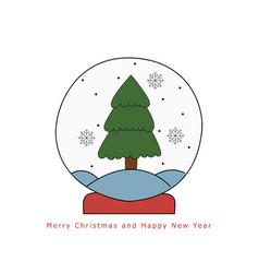 christmas snow globe with fir tree hand drawn on vector image