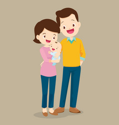dad and mom with cute baby vector image