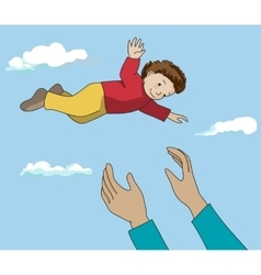 Father throw up happy kid in air vector image vector image