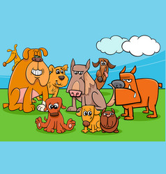 funny cartoon dog characters group vector image vector image