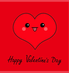 happy valentines day sign symbol red heart face vector image vector image