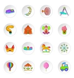 Amusement park icons cartoon style vector image vector image