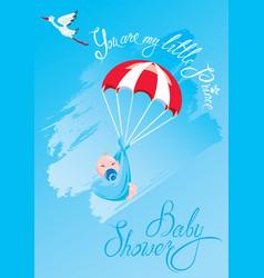 Baby shower card invitation etc stork vector