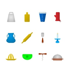 Colored icons for kitchenware vector image vector image