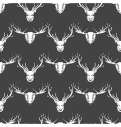 Deer and elk heads seamless pattern vector image vector image