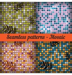 Mosaic with palm leaves Set of seamless patterns vector image vector image