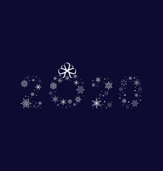 2020 snowflakes with christmas wreath new year vector image