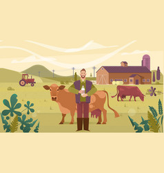 Agriculture industry farming people and animal vector