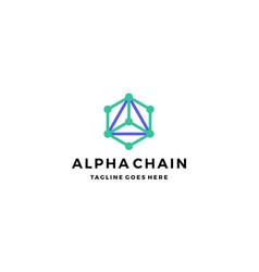 Alpha chain technology logo design concept vector