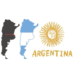 argentina border shape flag and hand drawn sun vector image