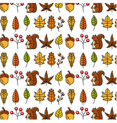 Autumn squirrel acorn leaves natural seamless vector