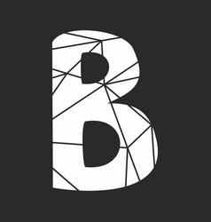 B white alphabet letter isolated on black vector