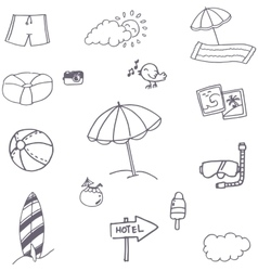 Beach icon set doodle vector image