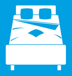 Bed icon white vector