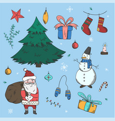 big colorful set of doodle christmas elements vector image