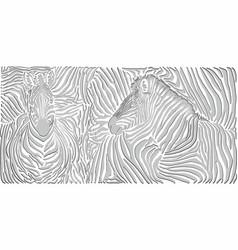 black and white zebra background skin with heads vector image