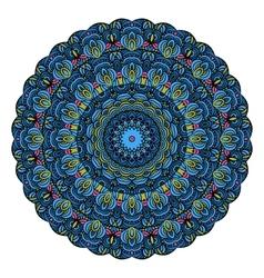 Blue Mandala Round Zentangle Pattern vector
