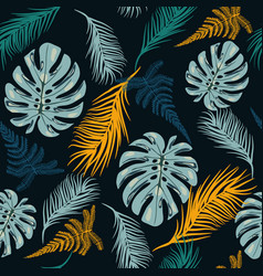 Botanical seamless pattern with tropical leaves vector