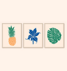botanical wall art collection exotic plants vector image