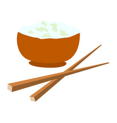 Bowl of rice and food chopsticks and design vector