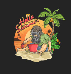Boy with a gas mask is on vacation on a tropic vector