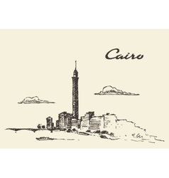 Cairo skyline Egypt drawn sketch vector image