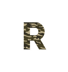 camouflage logo letter r vector image