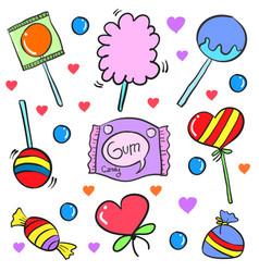 Candy various food doodle style collection vector