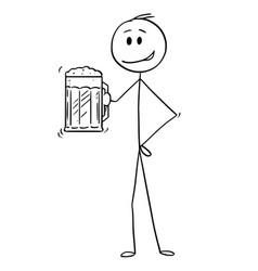 Cartoon of man holding half-litre or half-liter vector