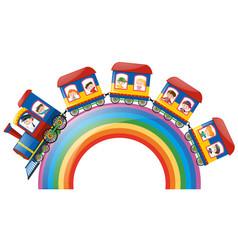 children riding on train over rainbow vector image