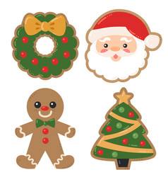 Christmas holiday decorated cookies vector