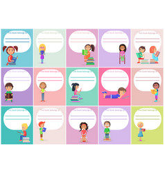 Concept of templates this book belong to with kids vector