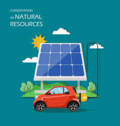 Conservation of natural resources flat vector