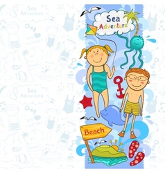 Cute childrens border with beach elements vector image vector image