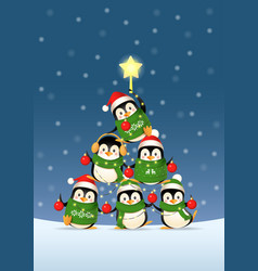 cute penguins form a christmas tree shape vector image