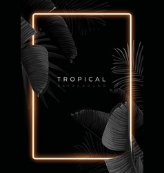 dark monochrome tropical design with exotic banana vector image