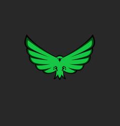 eagle mascot emblem green color for esport team vector image