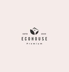 eco house logo hipster retro vintage icon vector image