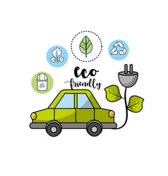 ecological car with power cable with leaves vector image