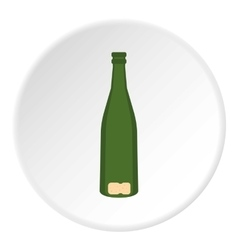 Empty glass bottle icon flat style vector image